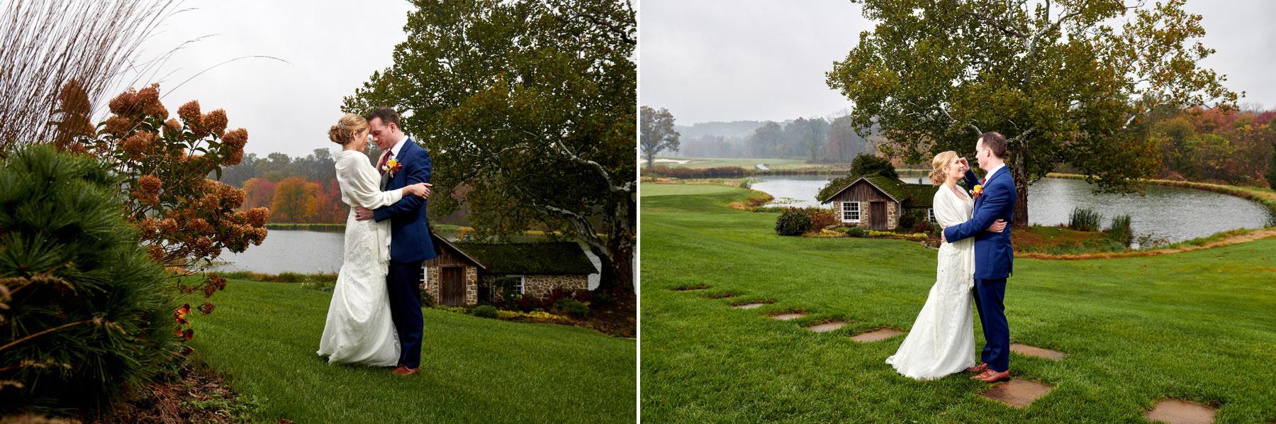 rainy sunset wedding photos at French Creek Golf Club