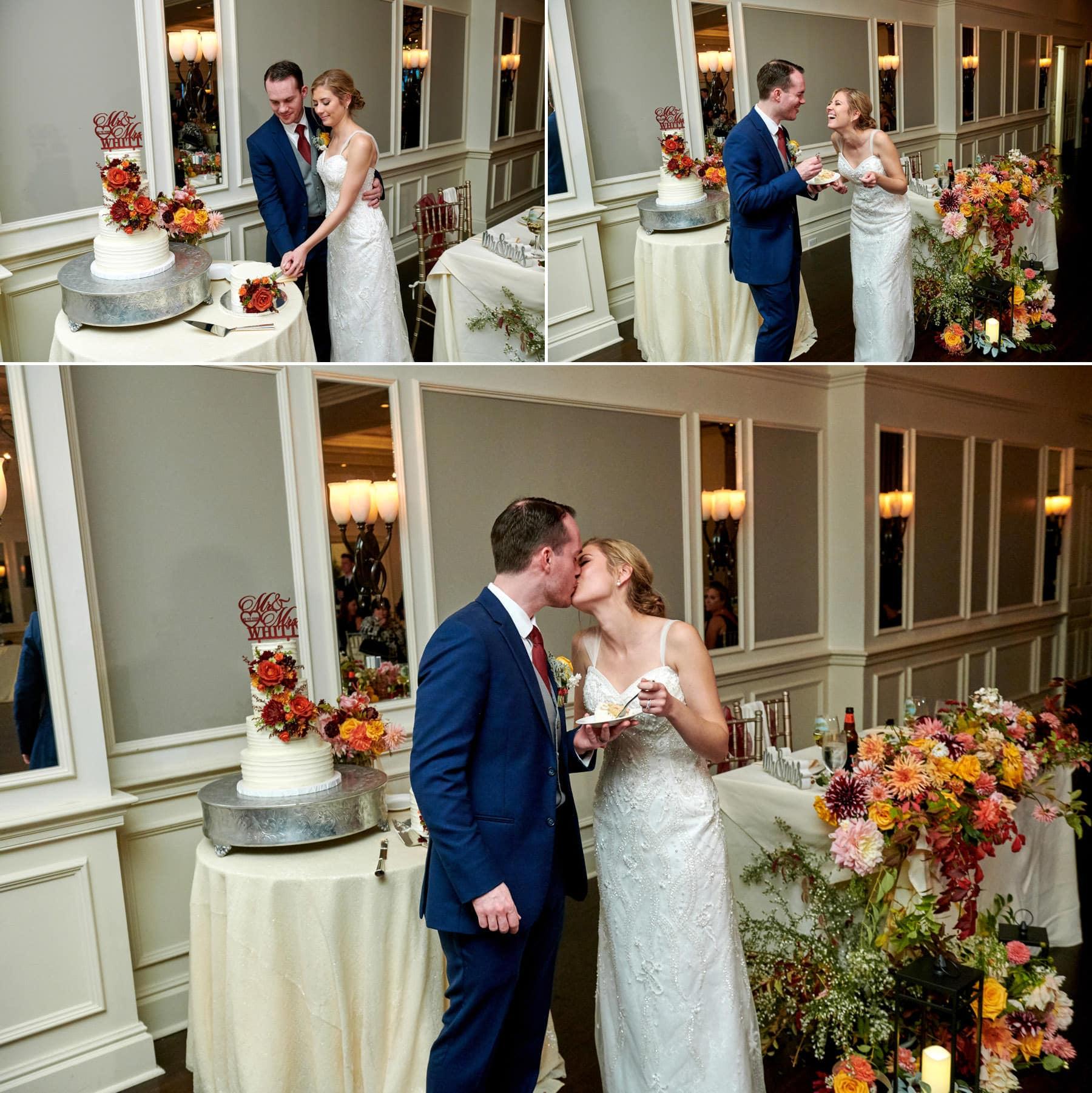 wedding cake cutting photos at French Creek Golf Club