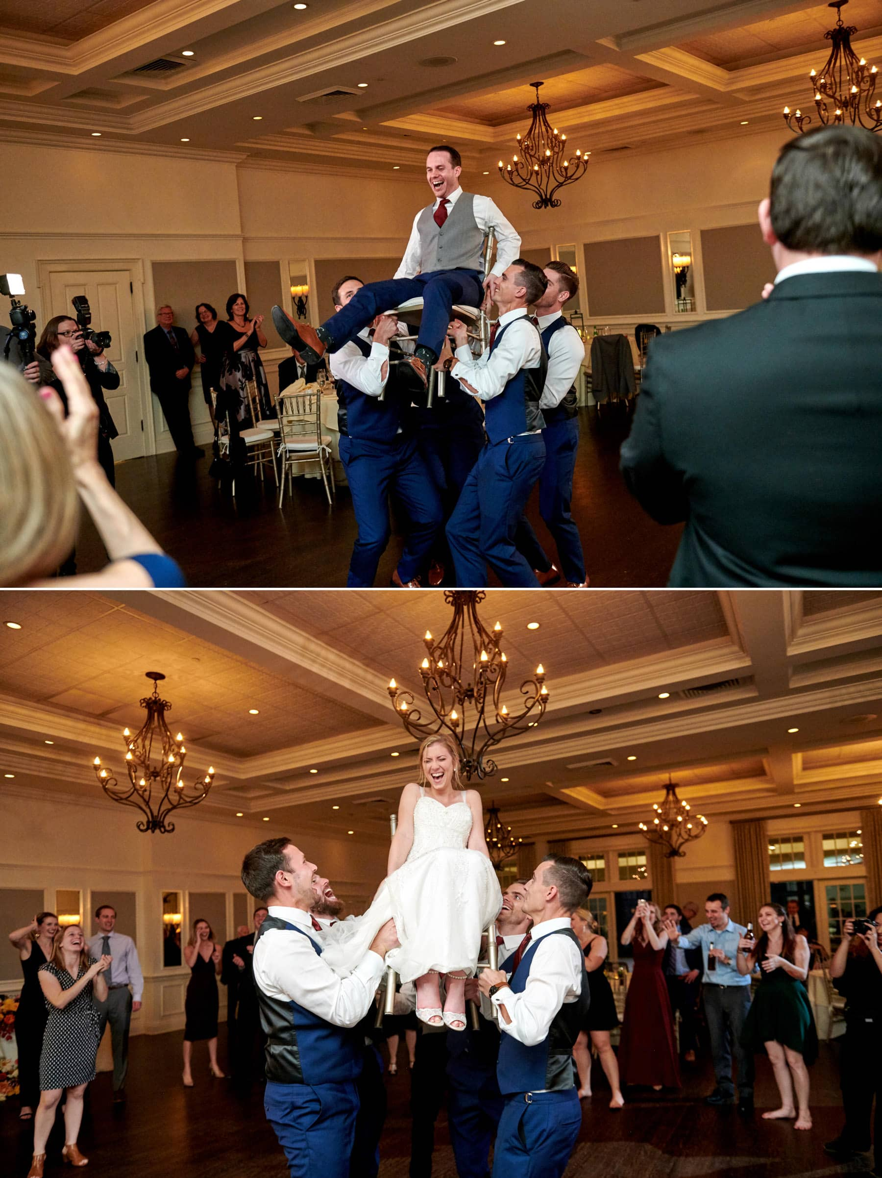 wedding chair lift photos at French Creek Golf Club