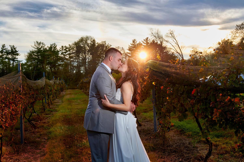sunset vineyard wedding photo at old york cellars