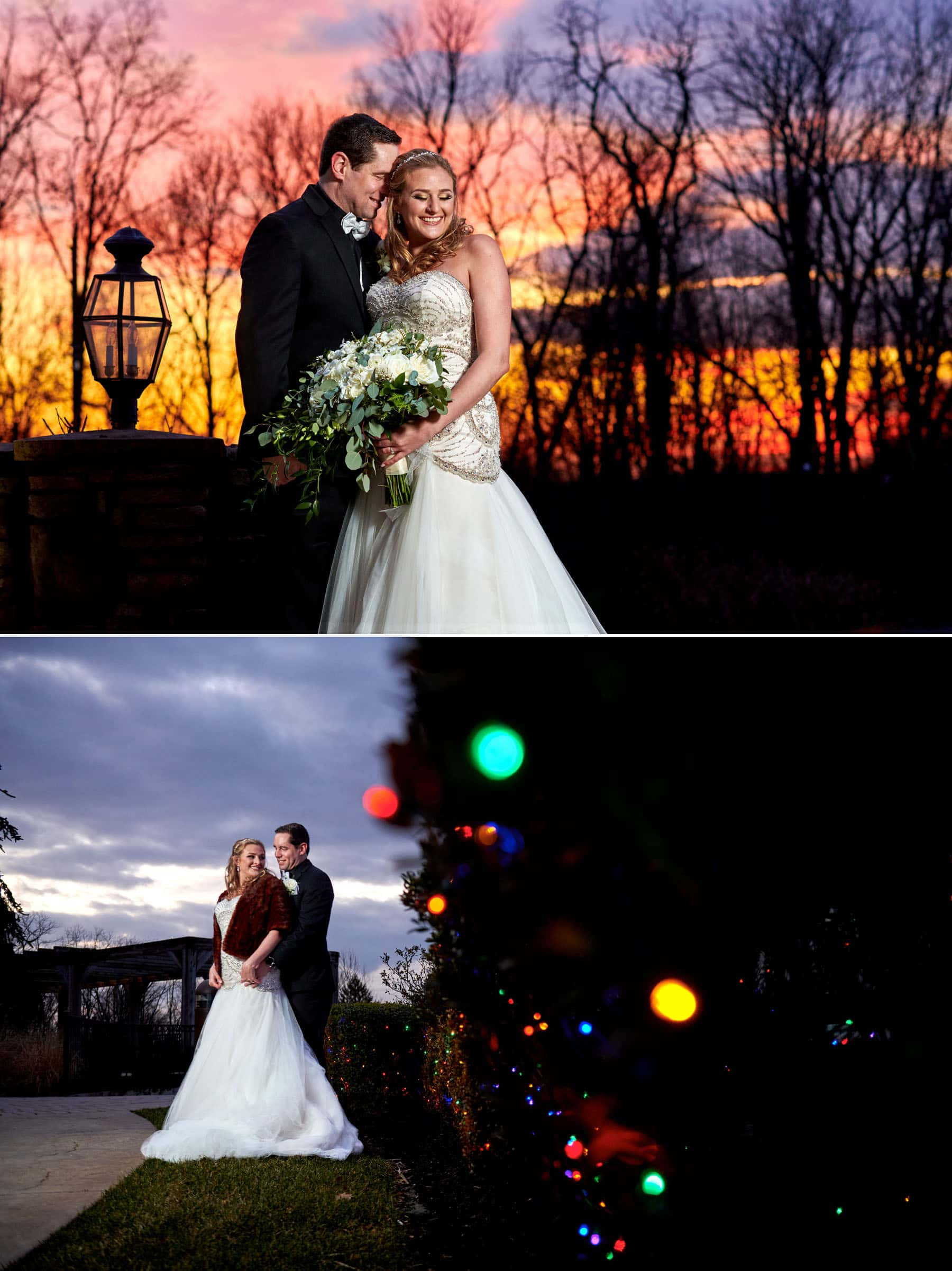 new years eve sunset wedding photo at laurita winery