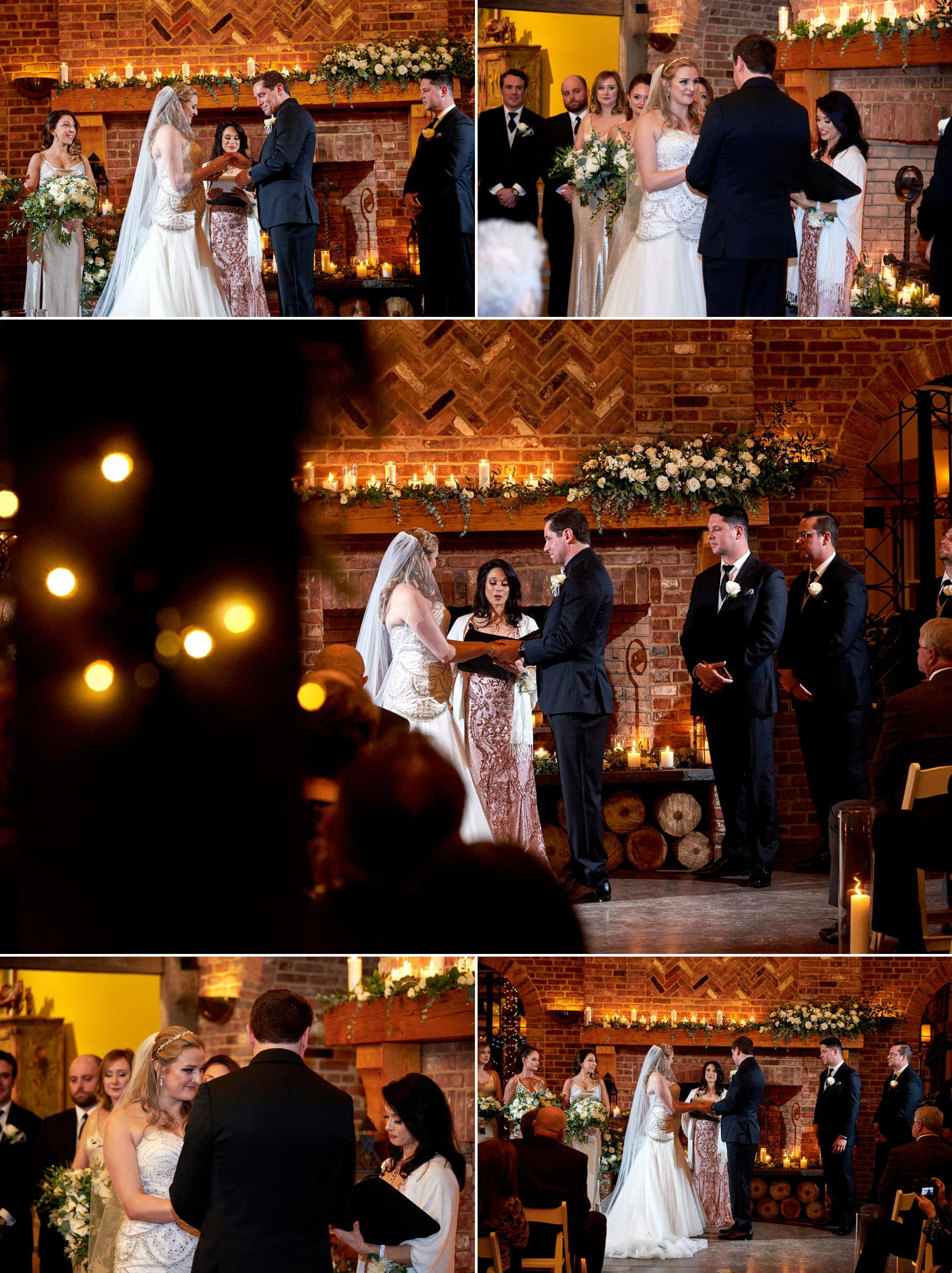 indoor wedding ceremony at laurita winery