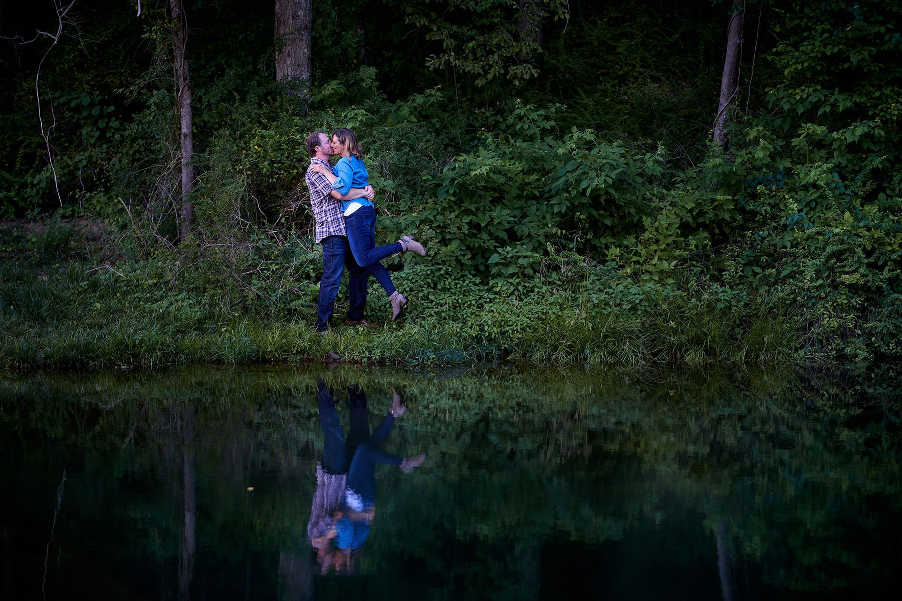 Natirar pond engagement photo