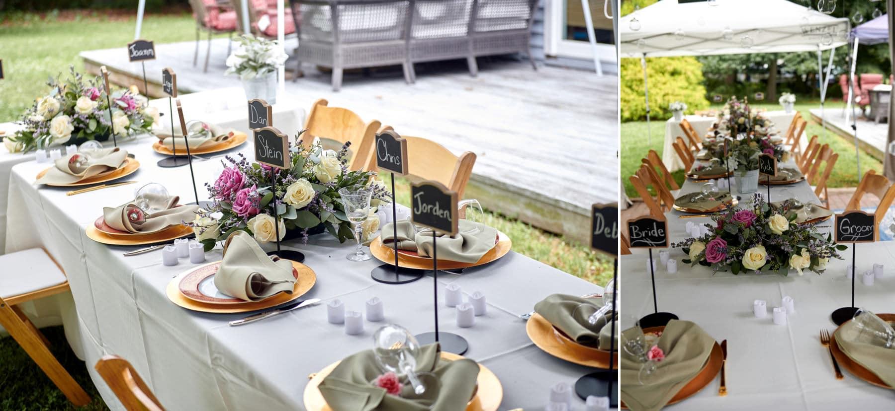 backyard wedding table detail photos