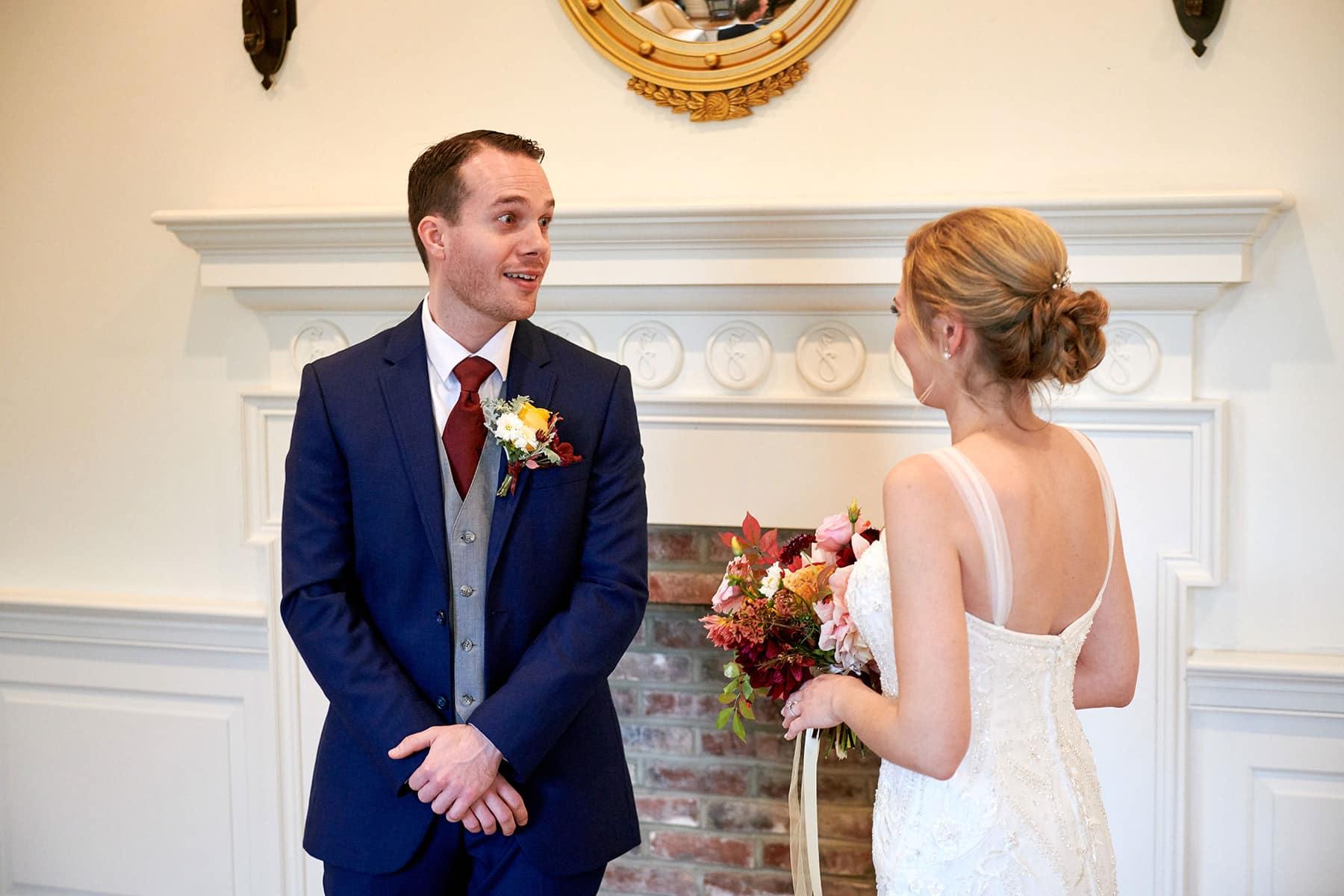 first look wedding photo at french creek golf club