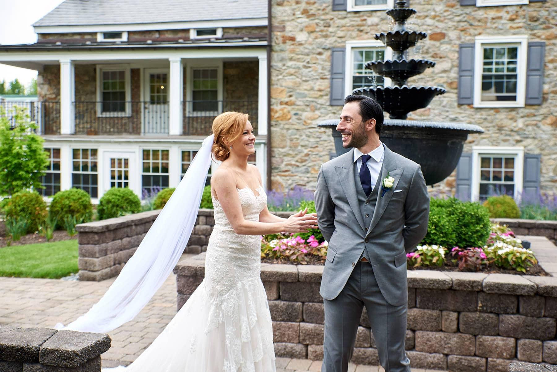 First look wedding photo at the farmhouse in hampton nj