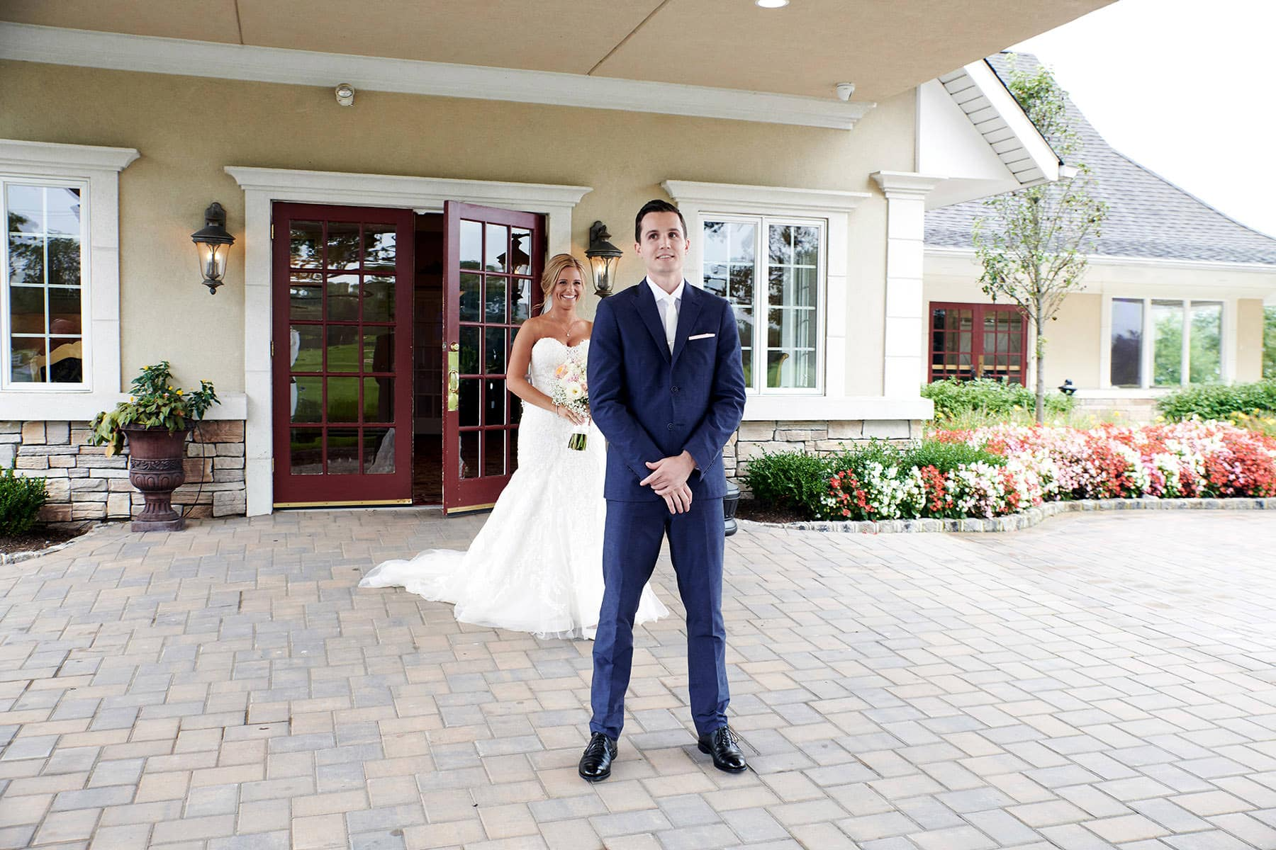 first look wedding photo at flanders valley nj