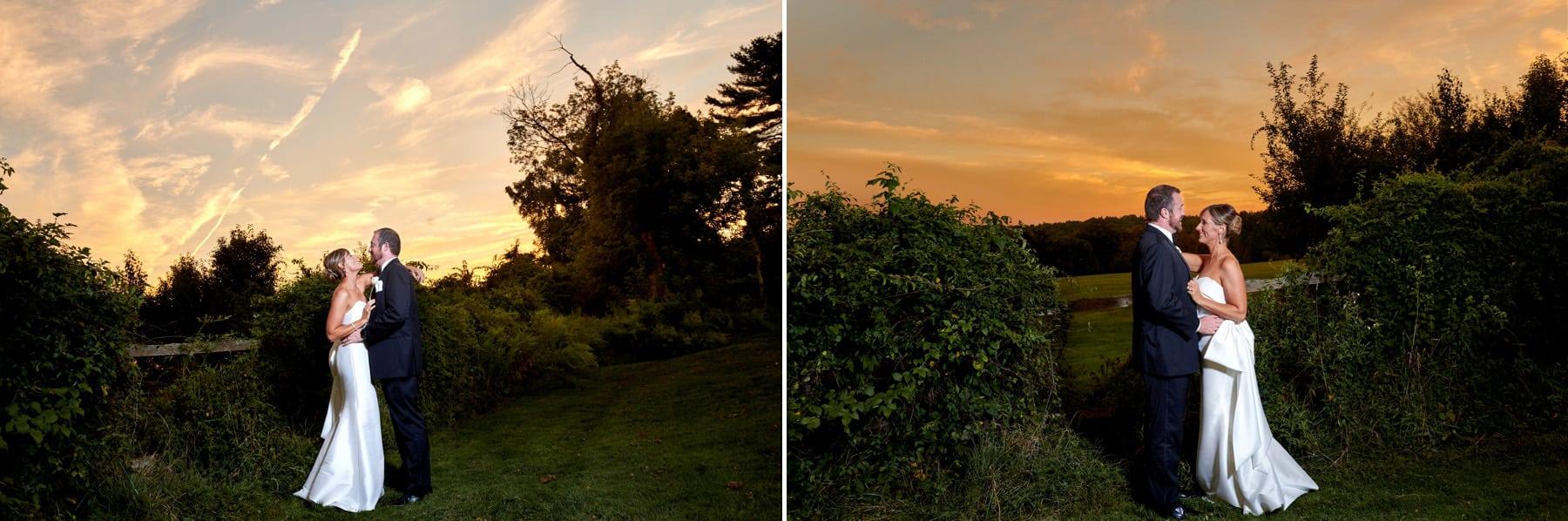 epic sunset wedding photo at basking ridge country club