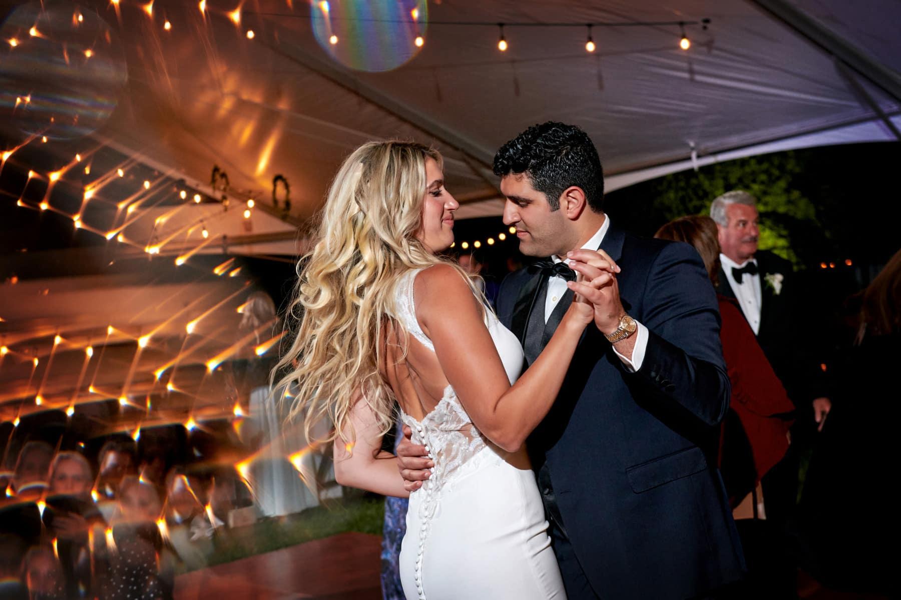 nj backyard wedding bride and groom dancing photo