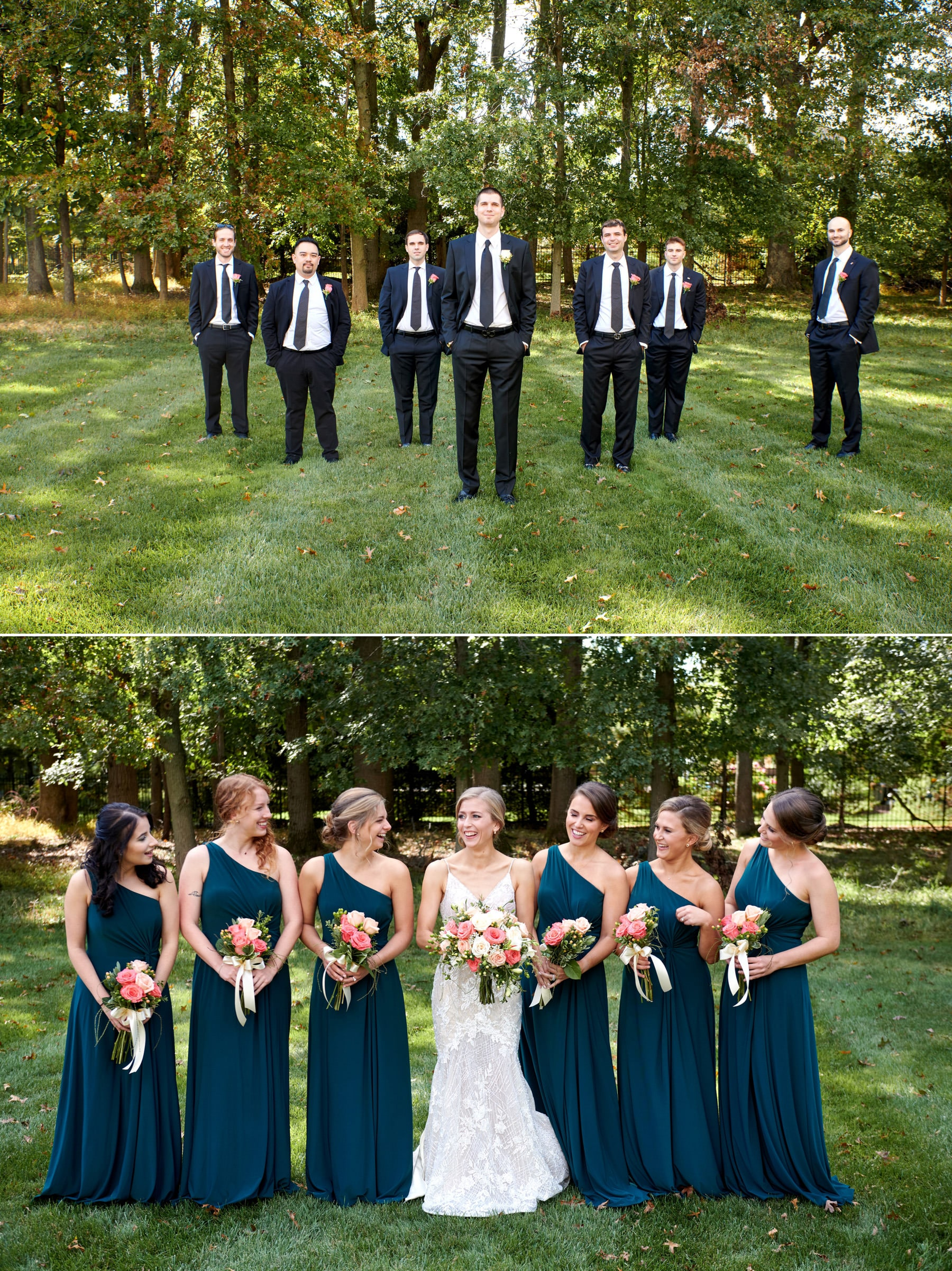 bridal party photo with guys and girls