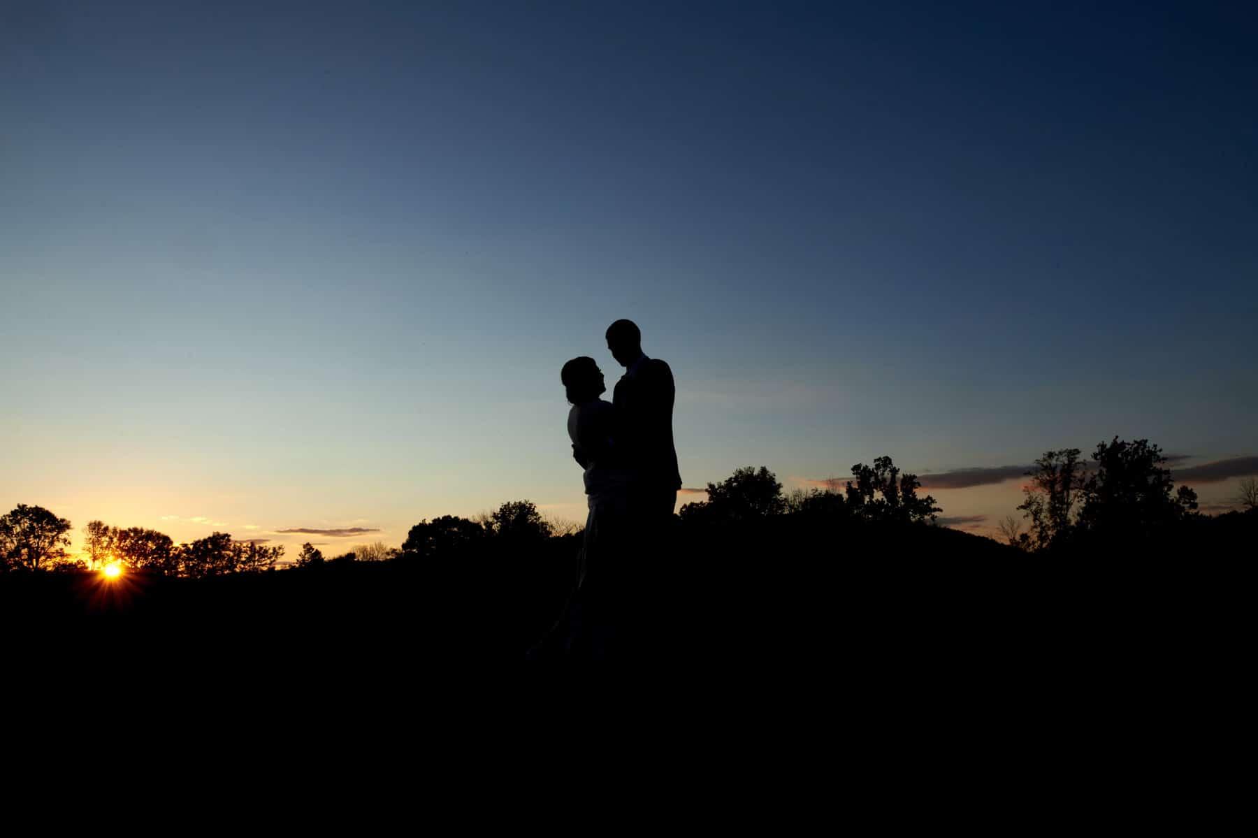 silhouette wedding photo at Villa Milagro Vineyards
