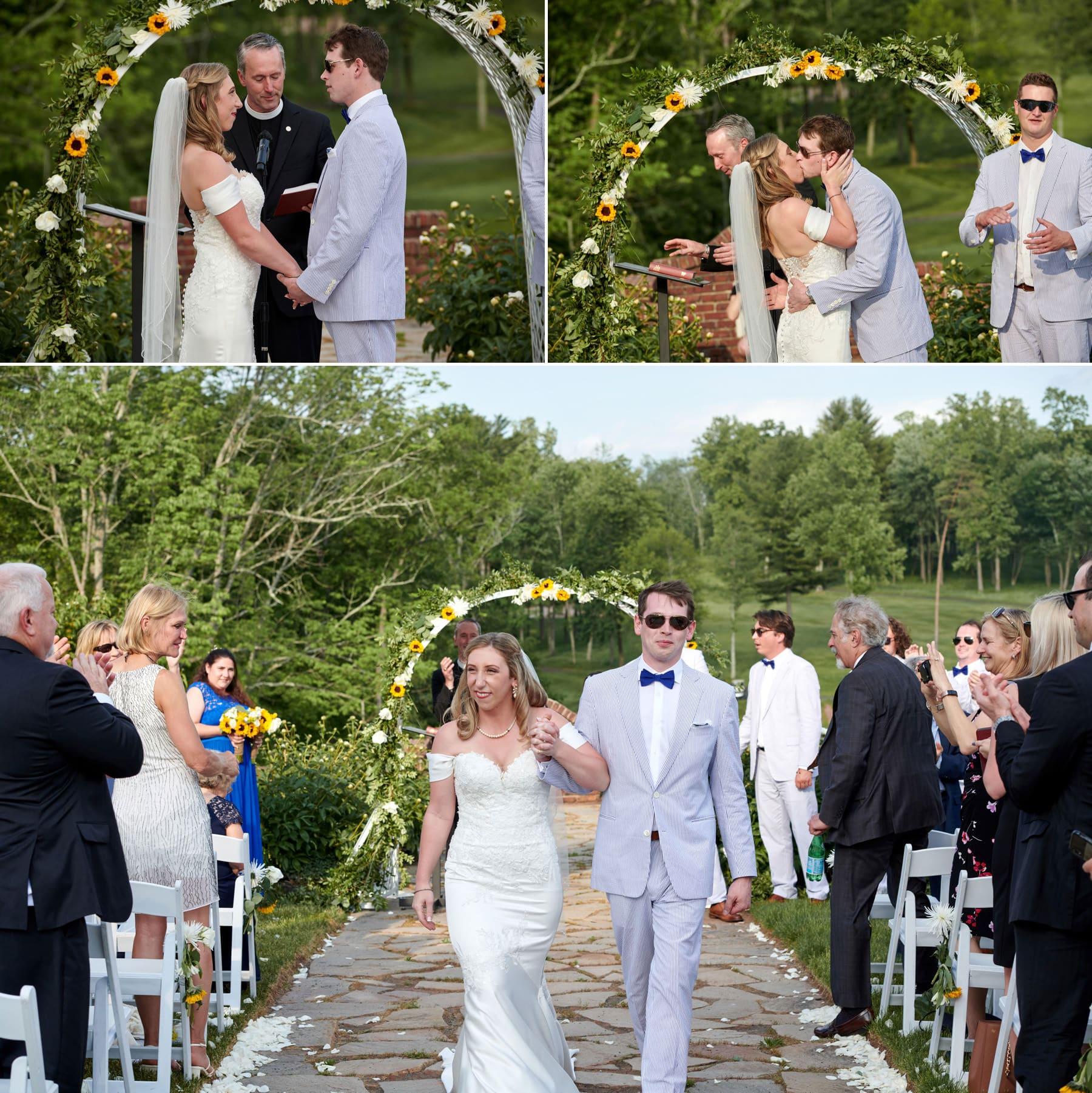 first wedding kiss photos at Hamilton Farm Golf Club