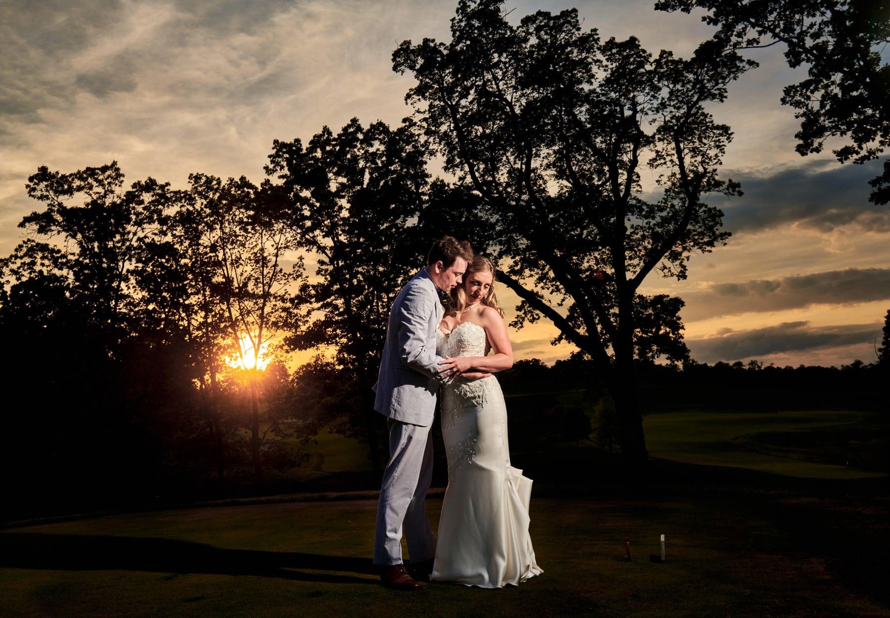 Hamilton Farm Golf Club sunset wedding photo