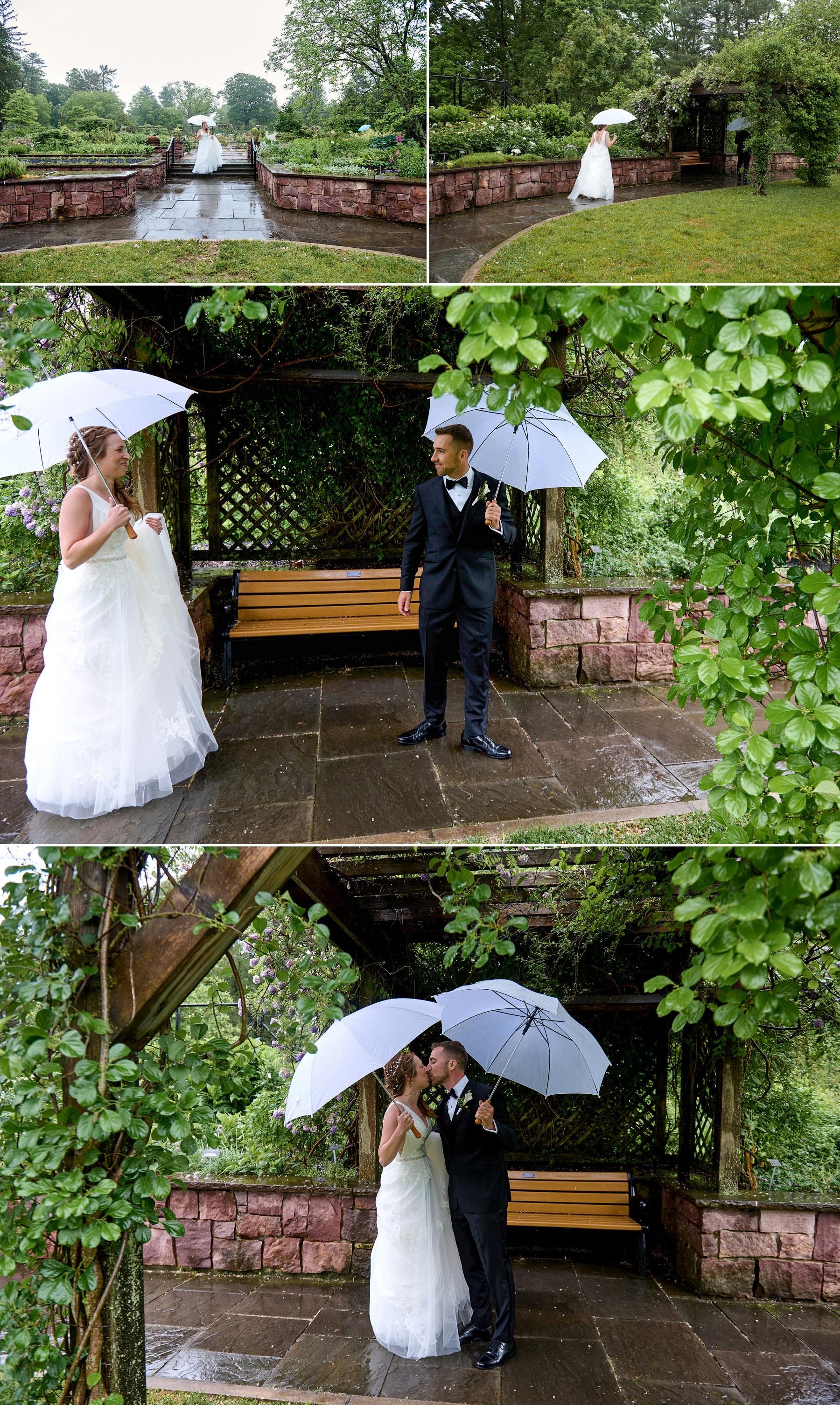 wedding first look in the rain photo