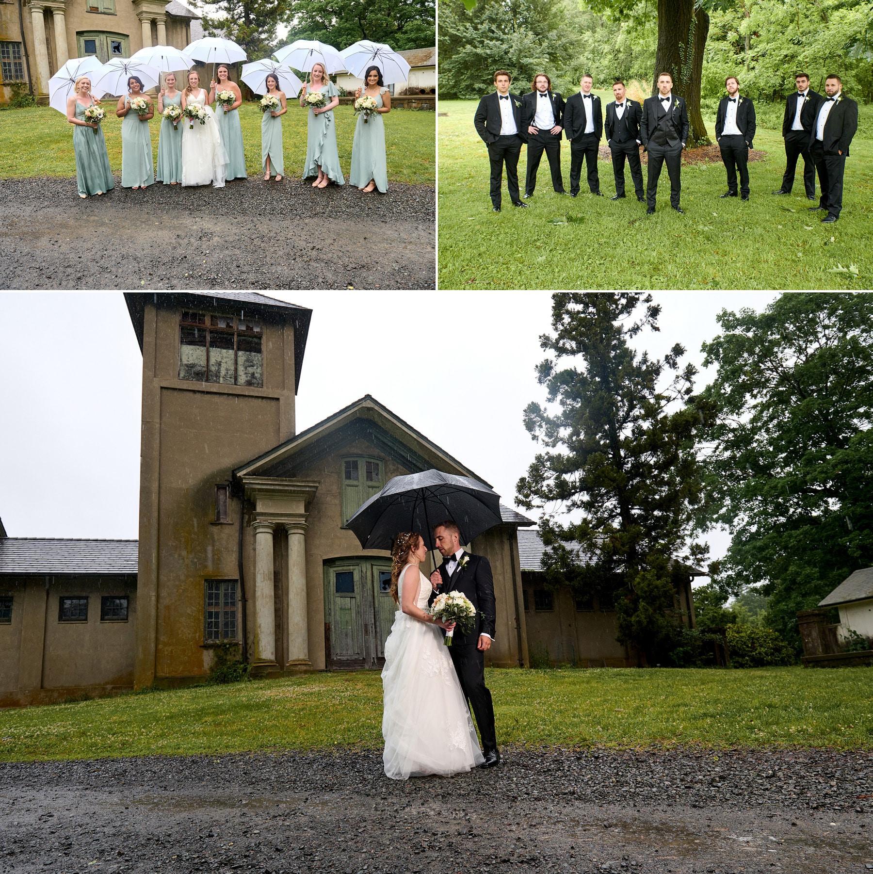 colonial park rainy wedding photos