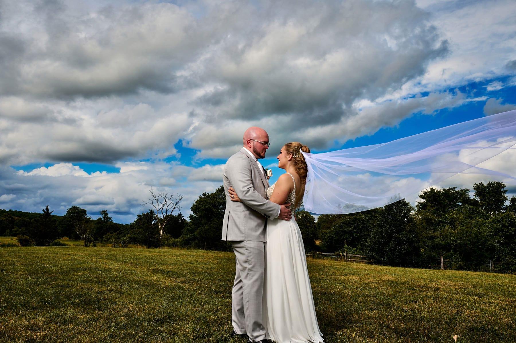 bride and groom at Brick Farm Tavern
