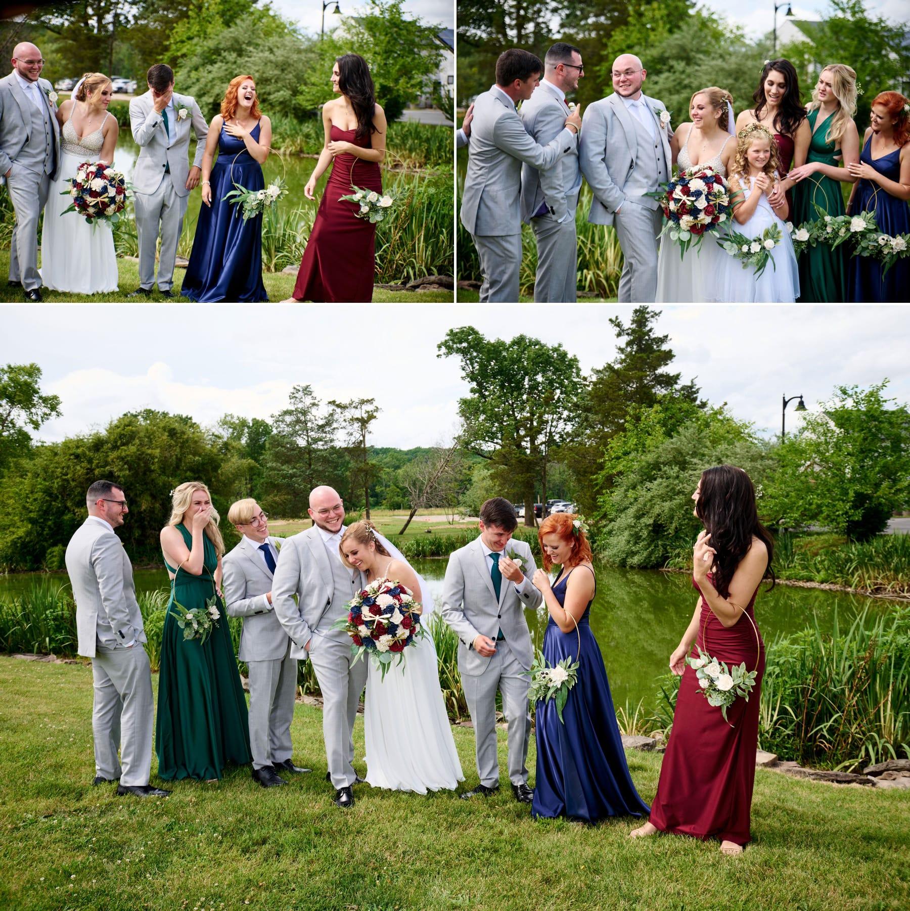 bridal party wedding photos at Brick Farm Tavern