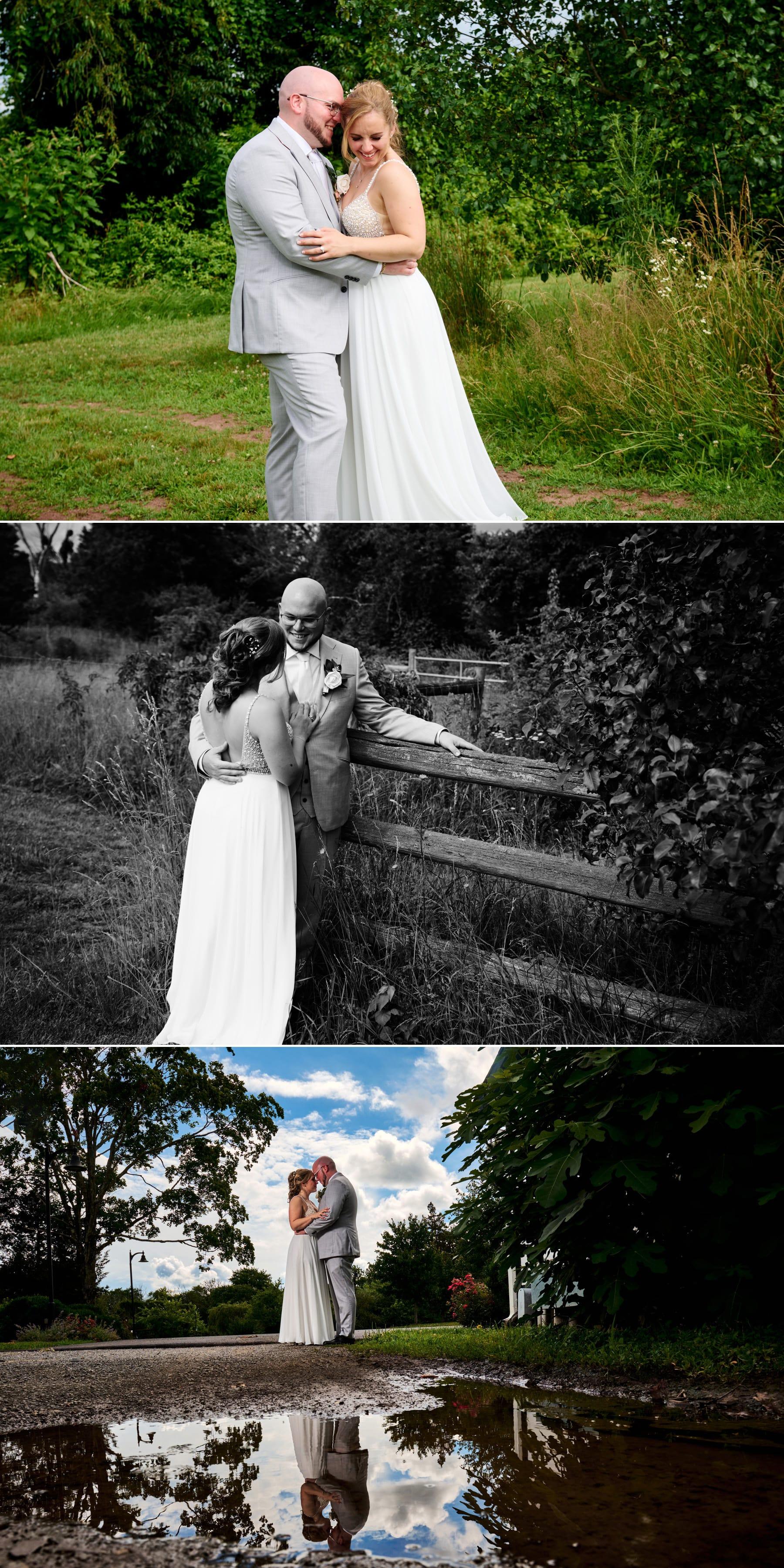 bride and groom wedding photos at Brick Farm Tavern