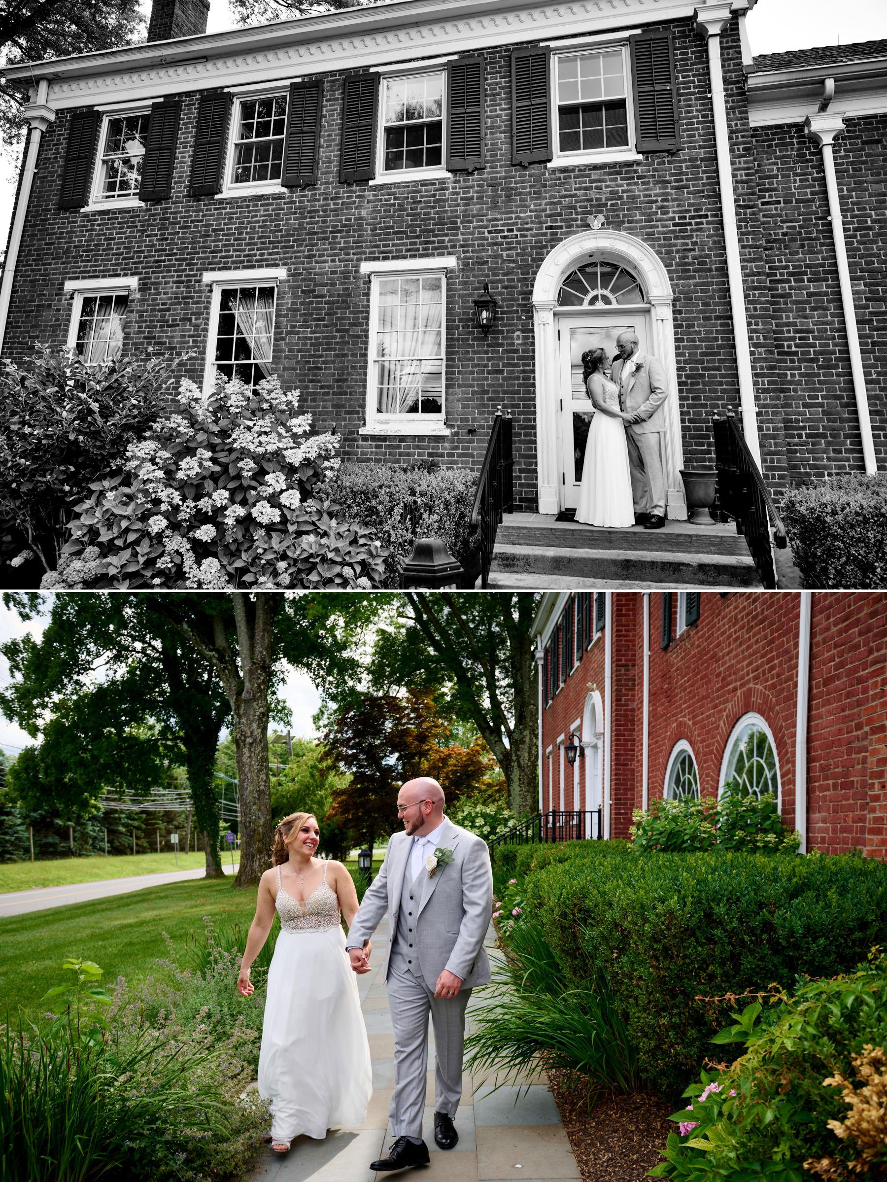 wedding photos in front of Brick Farm Tavern