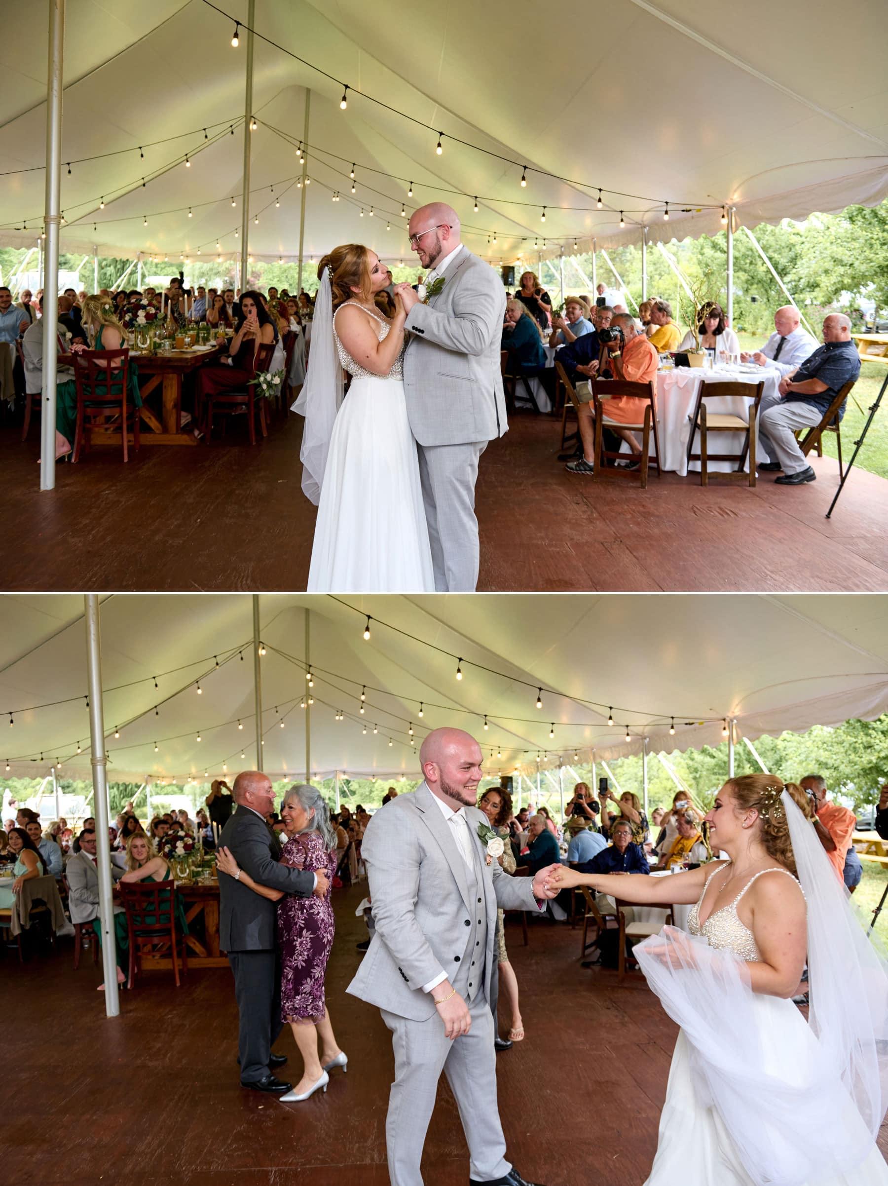 wedding first dance photos at Brick Farm Tavern