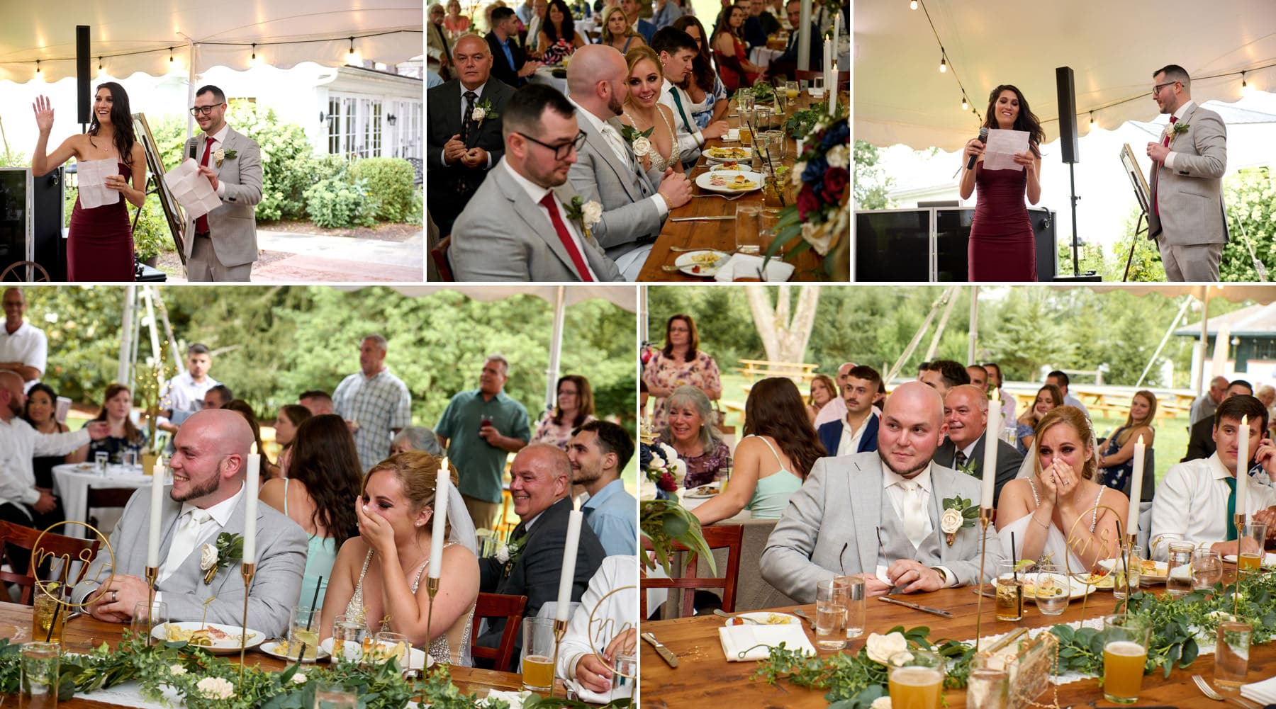 wedding speech photos at Brick Farm Tavern