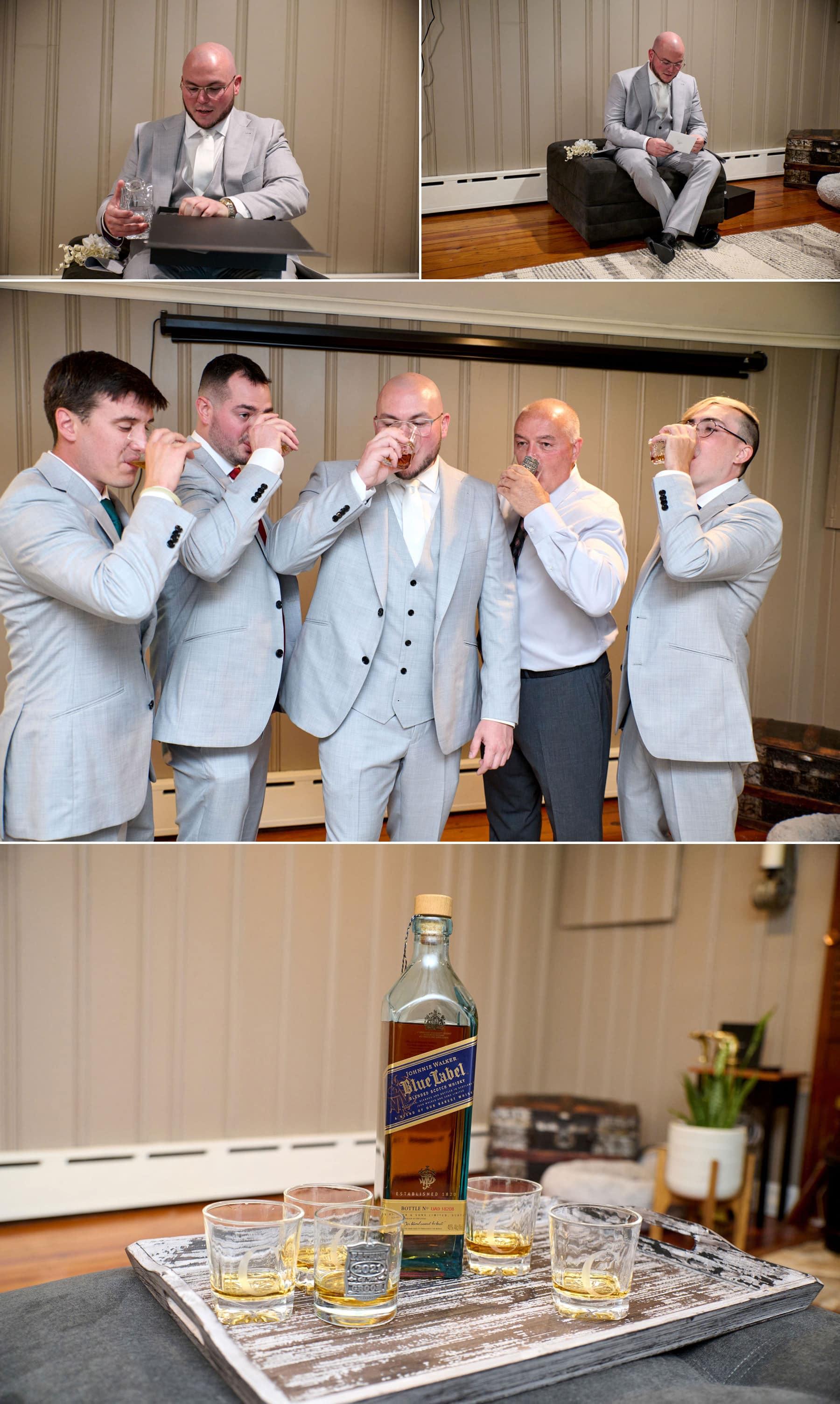 groomsmen getting ready for the Brick Farm Tavern wedding