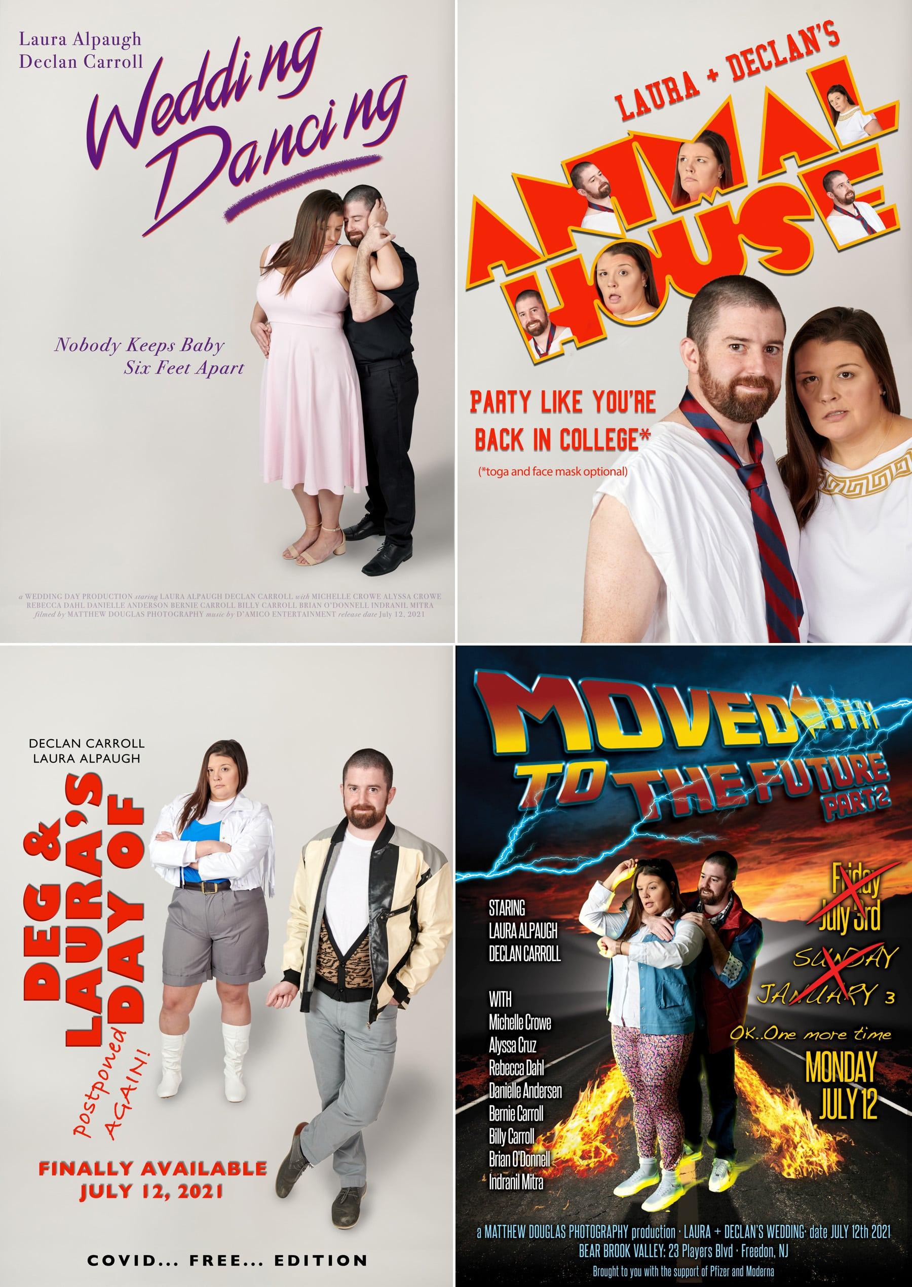 vintage movie wedding posters at bear brook valley