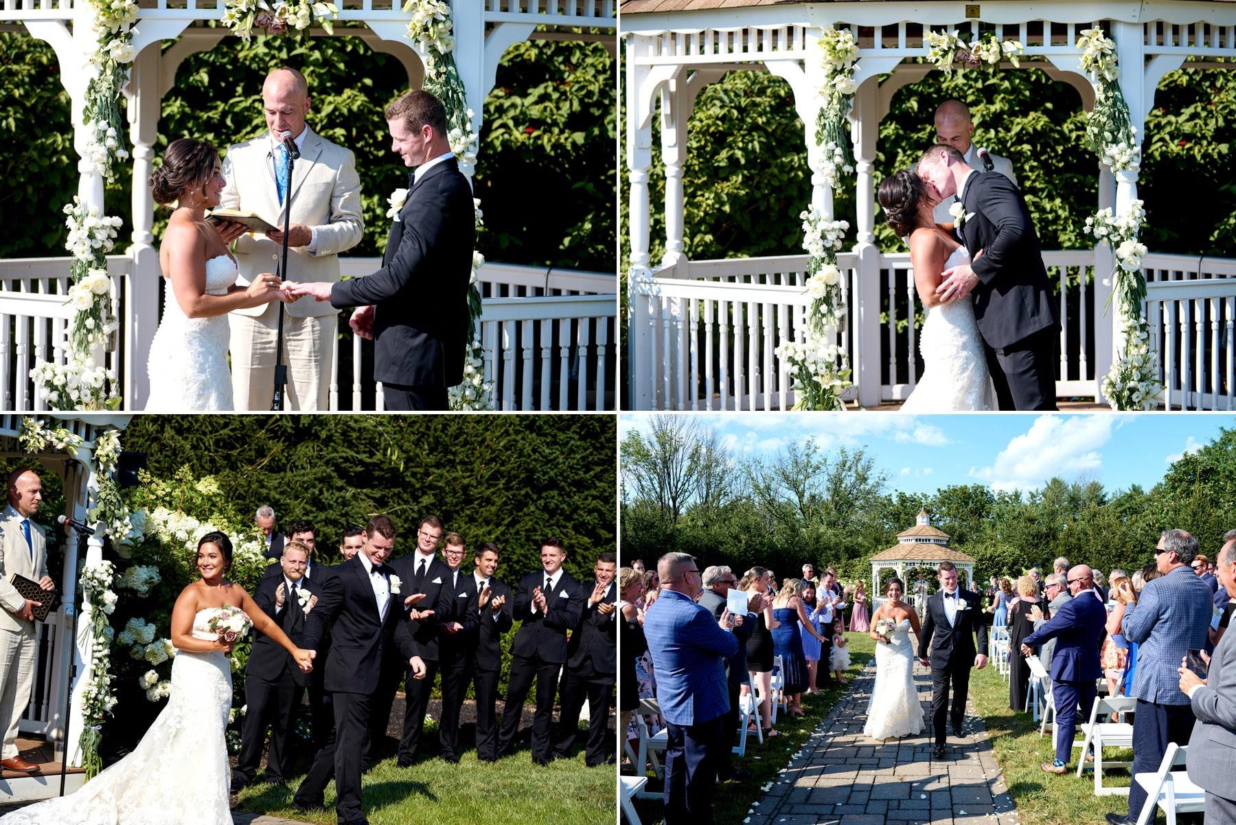 first kiss wedding ceremony photos at The Farmhouse