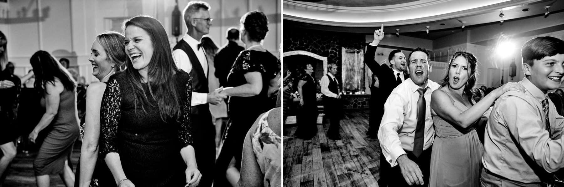 wedding guests dancing at The Farmhouse