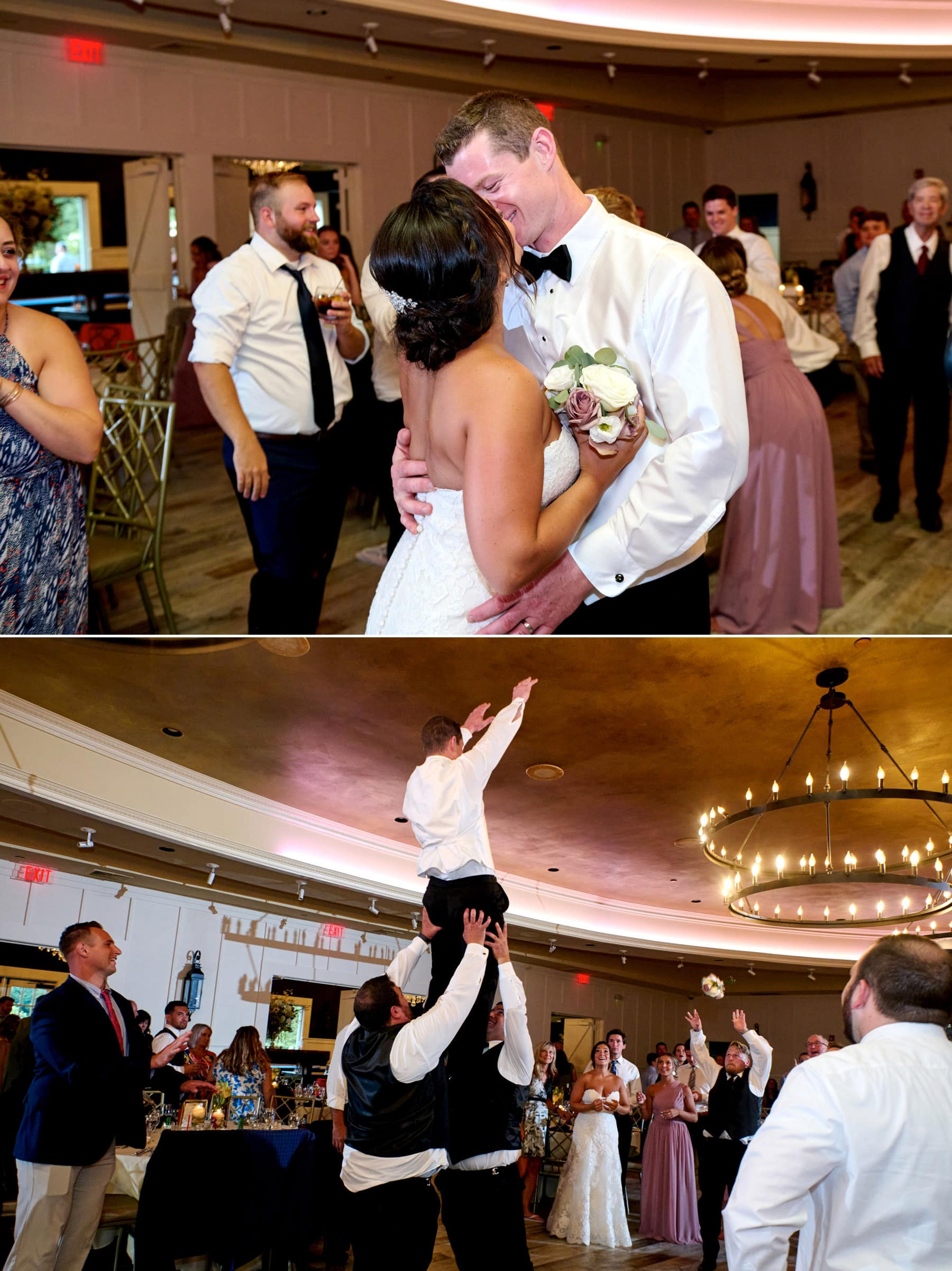 bride and groom dancing at The Farmhouse