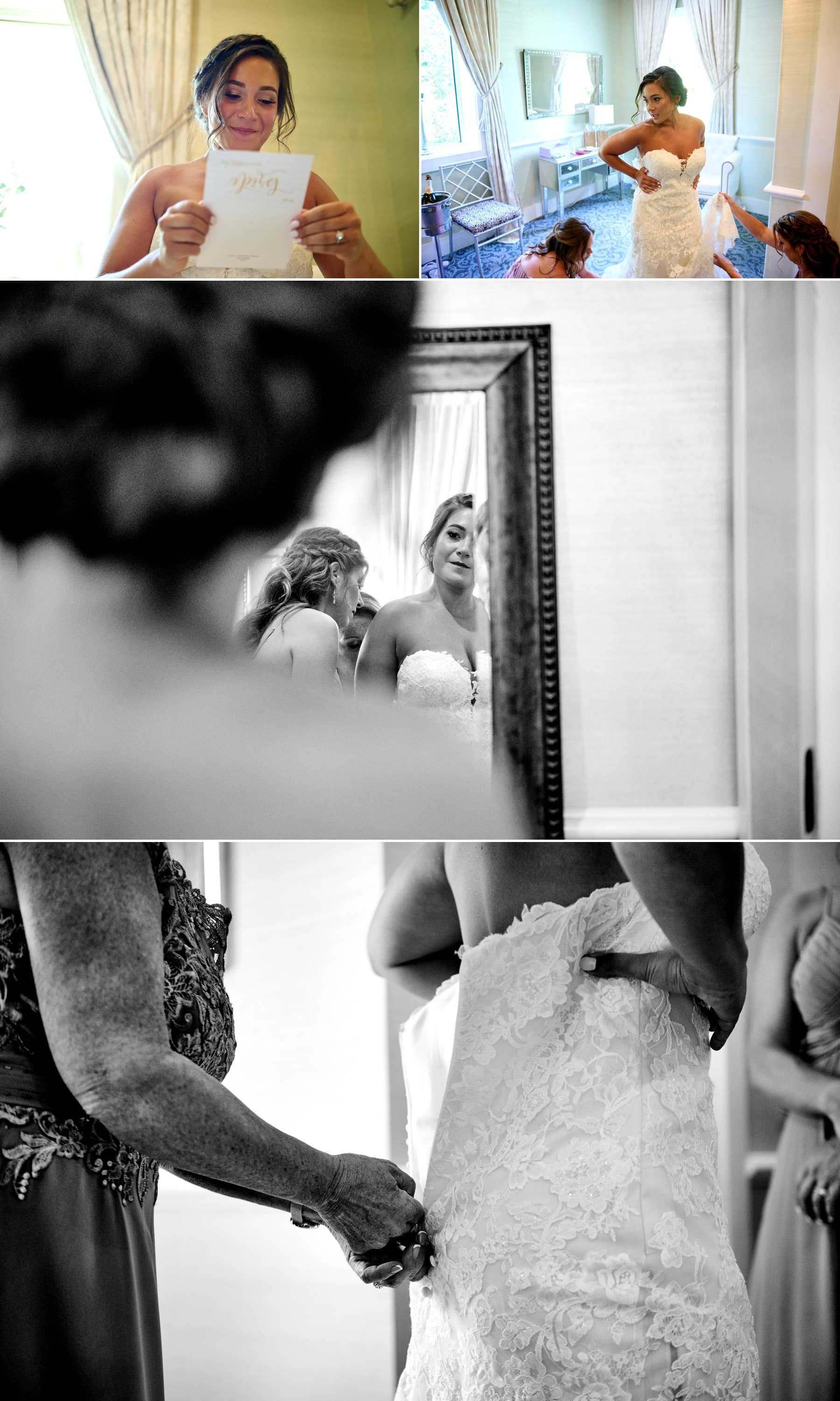 getting ready in the bridal suite at The Farmhouse